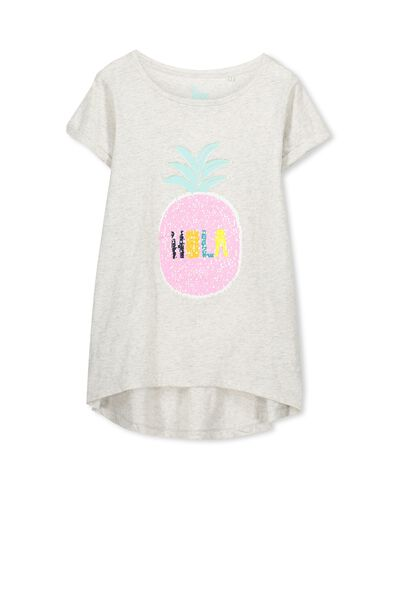 Gracie Ss Tee, SUMMER GREY MARLE/HOLA PINEAPPLE