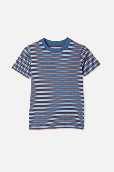 Free Boys Core Short Sleeve Tee, PETTY BLUE/AMBER BROWN STRIPE