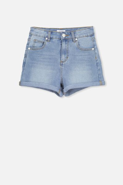 High Waist Denim Short, BLEACHED INDIGO