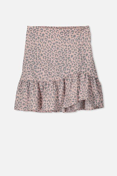 Sofia Wrap Skirt, PEACH/LEOPARD