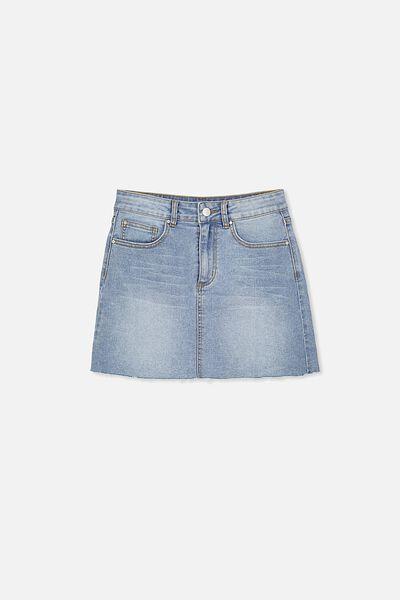 Stretch Denim Skirt, BLEACHED INDIGO