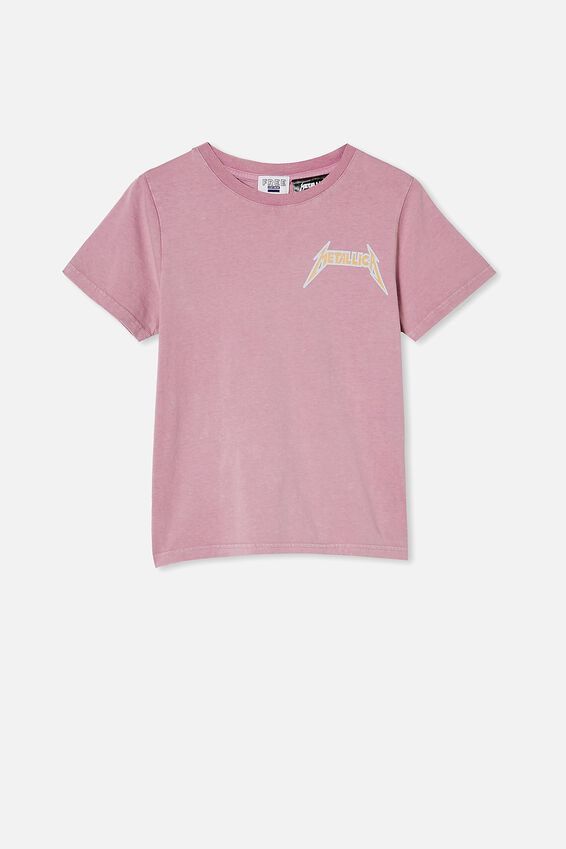 Girls License Classic Ss Tee, LCN PRO CHALKY MAUVE WASH/METALLICA