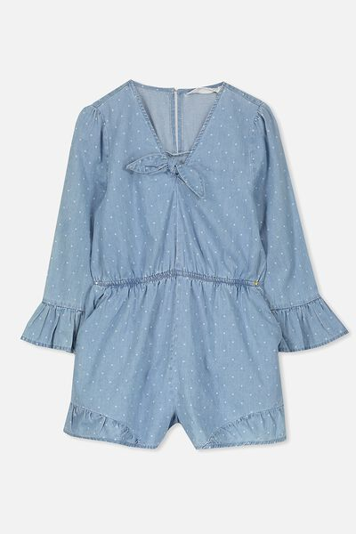 Matilda Playsuit, CHAMBRAY/SPOT