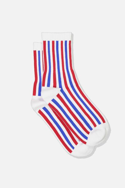 Ribbed Crew Socks, V STRIPES BLUE AND RED