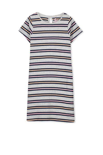 Darci Dress, LIGHT GREY MARLE/LARGE STRIPE