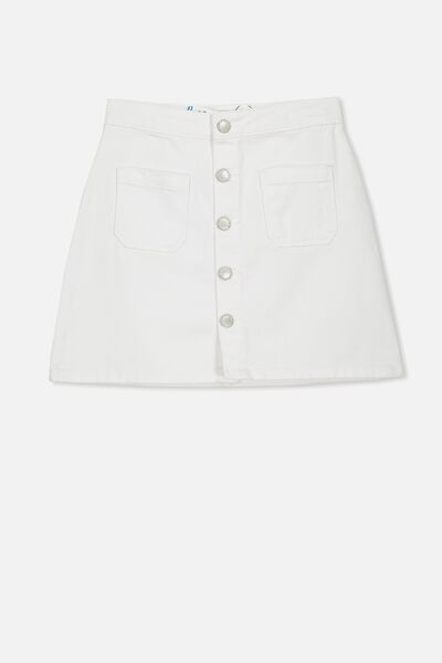 Button Denim Skirt, WHITE