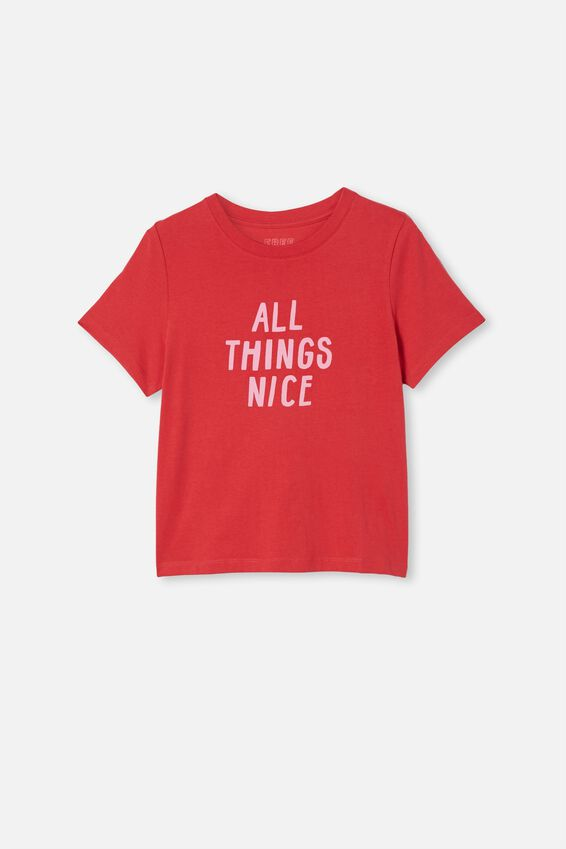Girls Classic Ss Tee, LUCKY RED/ALL THINGS NICE