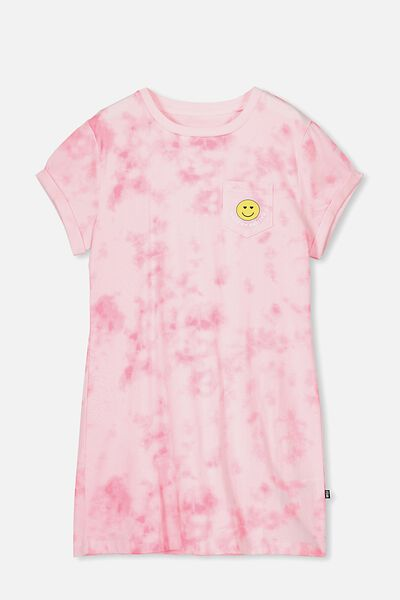 Tshirt Dress, PINK TIE DYE/SMILE