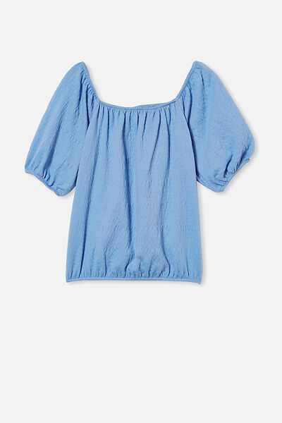 Isabel Crinkle Puff Sleeve Top, DUSK BLUE