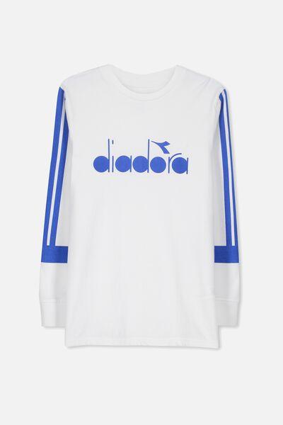 Diadora Long Sleeve Tee, WHITE/DIADORA LOGO