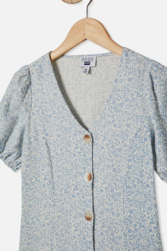 Luna Short Sleeve Dress, DUSTY BLUE/FOLKLORIC FLORAL