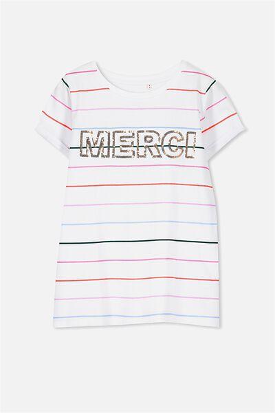 Gracie Short Sleeve Tee, WHITE STRIPE/MERCI
