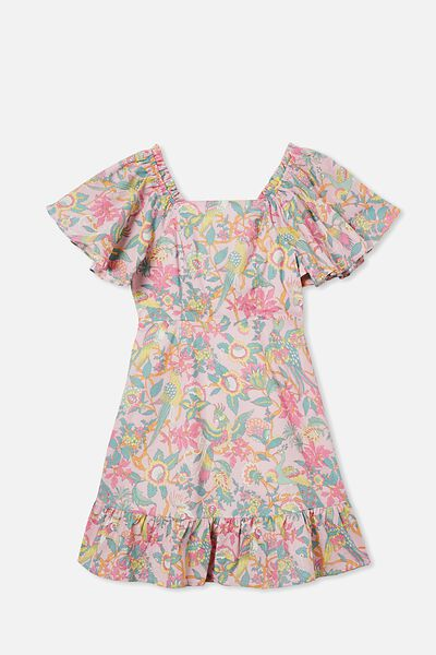 Salma Short Sleeve Dress, MARSHMALLOW/GARDEN OF BIRDS