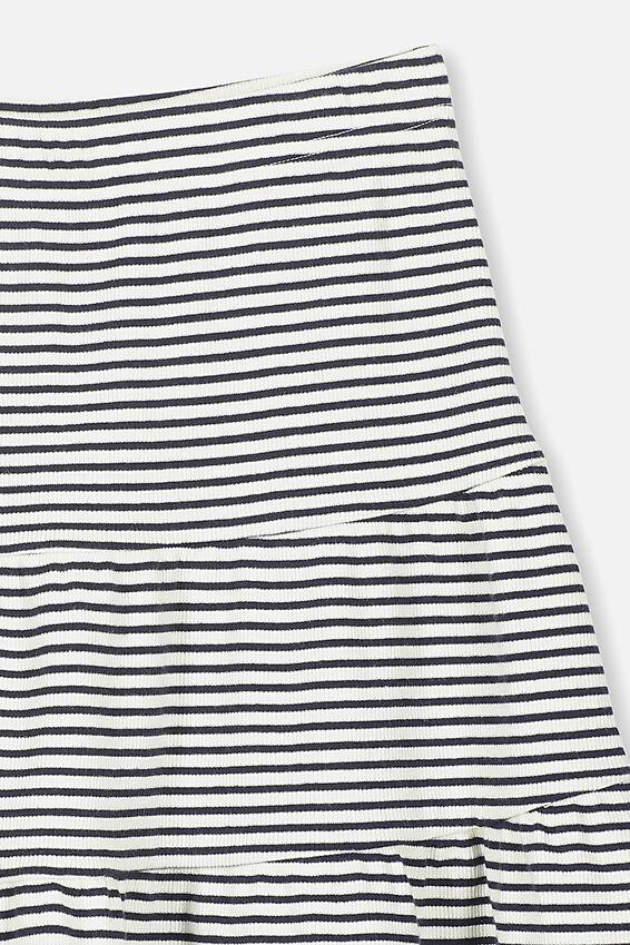 Knit Peplem Skirt, DK VANILLA/NAVY STRIPE