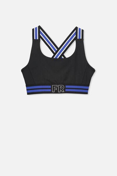 Sporty Crop Top, BLACK/BLUE STRIPE