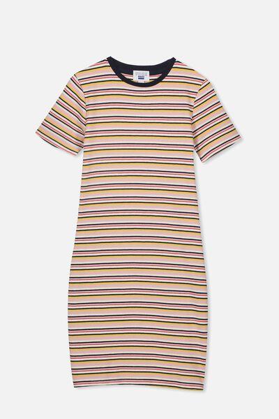 Rib T-Shirt Dress, RETRO STRIPE