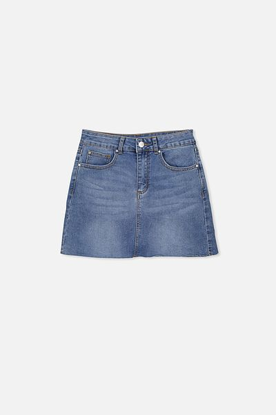 Stretch Denim Skirt, MID INDIGO