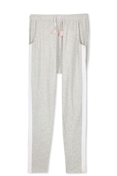 Hayley Slouch Pant, GREY MARLE/WHITE STRIPE