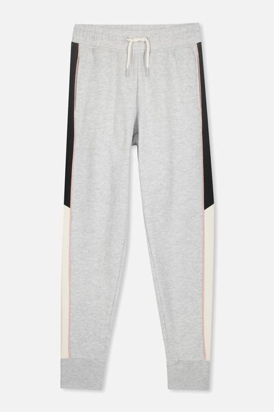 Keeper Girls Track Pant, SOFT GREY MARLE/SPLICE