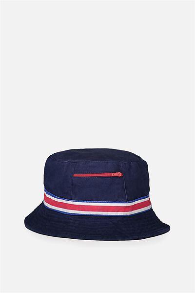 Free Zip Bucket Hat, NAVY/STRIPE