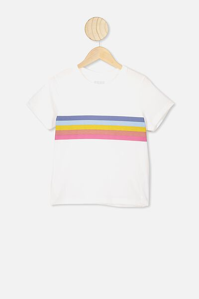 Primrose Classic Tshirt, VANILLA/RAINBOW STRIPE