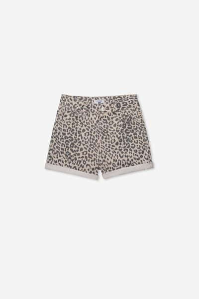 High Waist Denim Short, LEOPARD PRINT