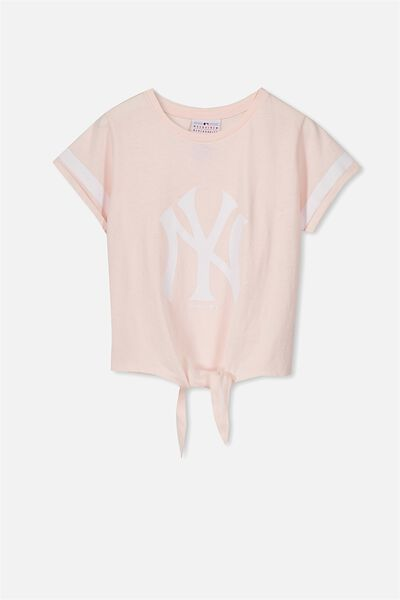 License Tie Front Tee, PINK MARSHMELLOW/NY