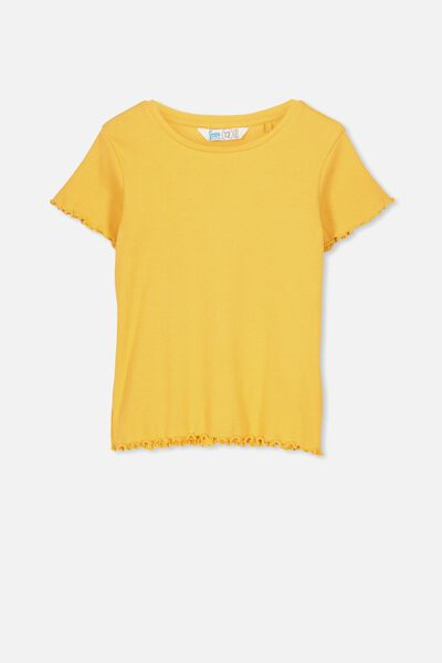 Jayde Ribbed Short Sleeve Top, TUSCAN SUN