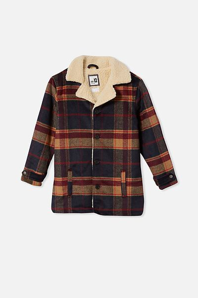 Boys Ranch Jacket, NAVY/RED BRICK CHECK