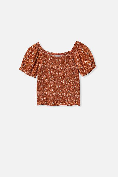 Kate Puff Sleeve Top, ROASTED ALMOND/ABSTRACT DITSY FLORAL