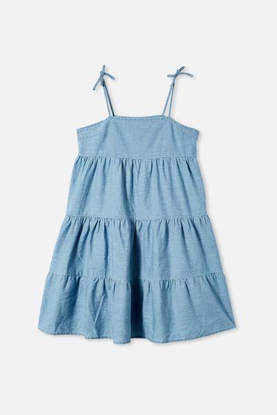 Nicole Sleeveless Dress, LIGHT BLUE WASH