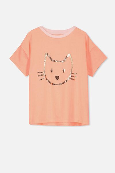 Millie Sleep Tee, FLURO CORAL/CAT