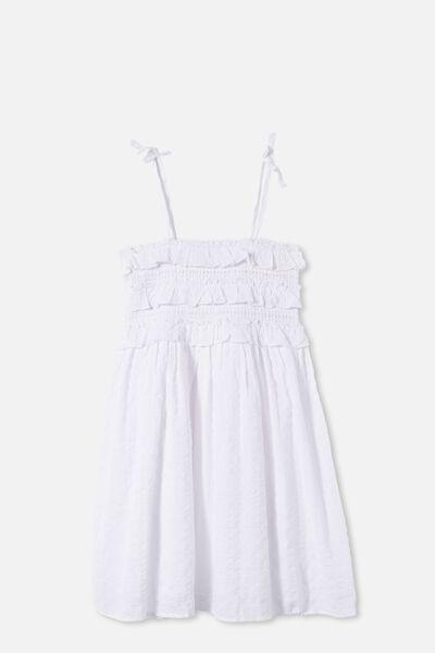 Megan Sleeveless Dress, WHITE