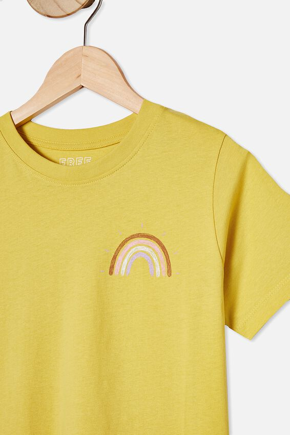 Girls Classic Ss Tee, SUNSHINE/RAINBOW FRONT AND BACK