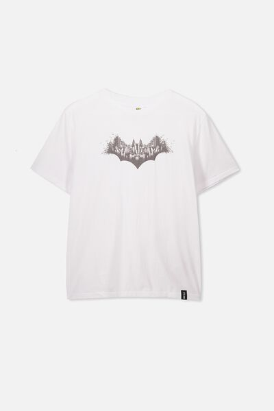 Boys License Short Sleeve Tee, LCN WB WHITE/BATMAN CITY