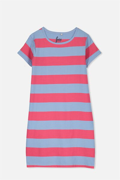 Darci Dress, CRUSHED RASPBERRY/BLUE BELLE STRIPE
