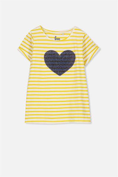 Gracie Short Sleeve Tee, MUSTARD STRIPE/BEADED HEART