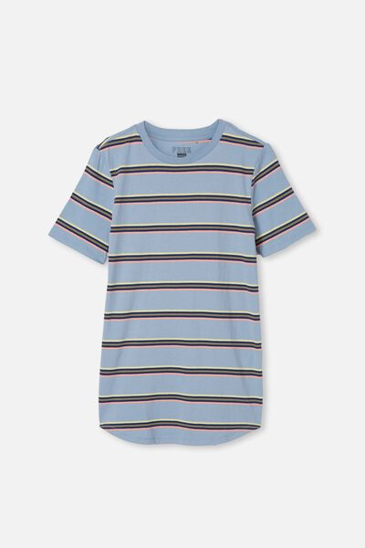 Free Boys Long Line Tee, DUSTY BLUE STRIPE
