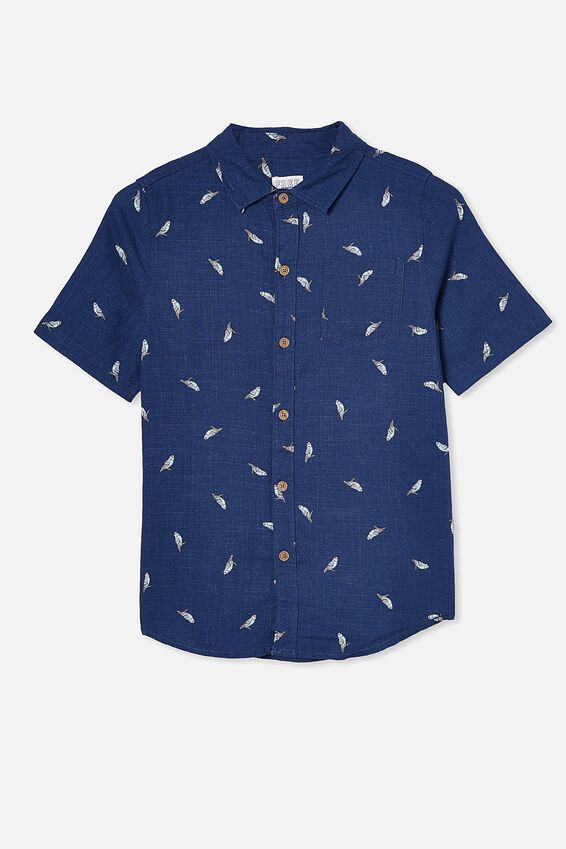 Boys Resort Short Sleeve Shirt, BUDGIES/NAVY