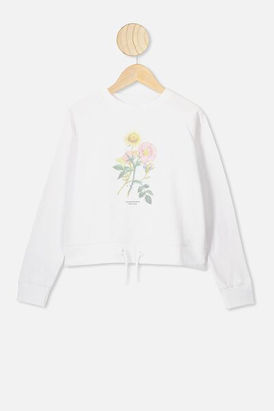 Boxy Crew Neck Jumper, WHITE/BOTANICAL FLOWERS
