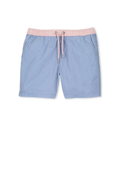 Pool Short, CHAMBRAY/PINK