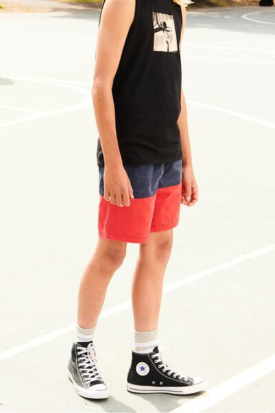 Pool Short, NAVY/RED PANEL