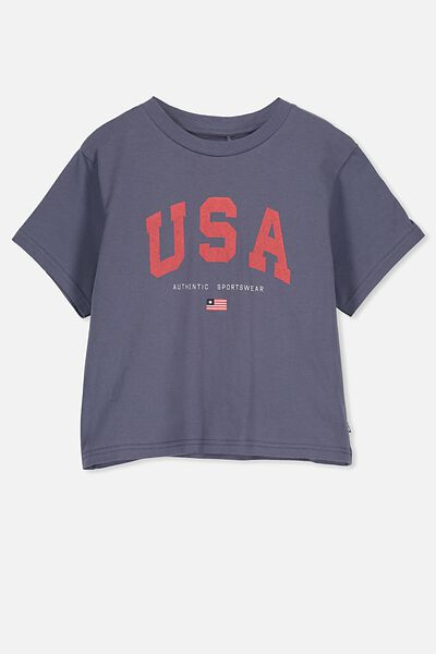 Boxy T-Shirt, VINTAGE NAVY/USA