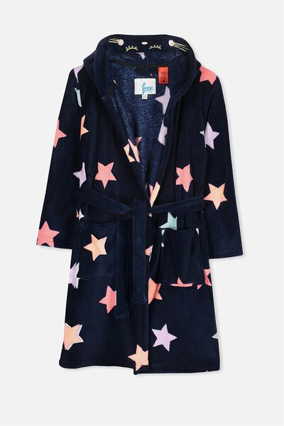 Free Girls Hooded Gown, OBRIEN BLUE/SCRIBBLE STAR CAT