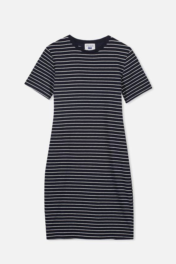 Rib T-Shirt Dress, NAVY/WHITE STRIPE