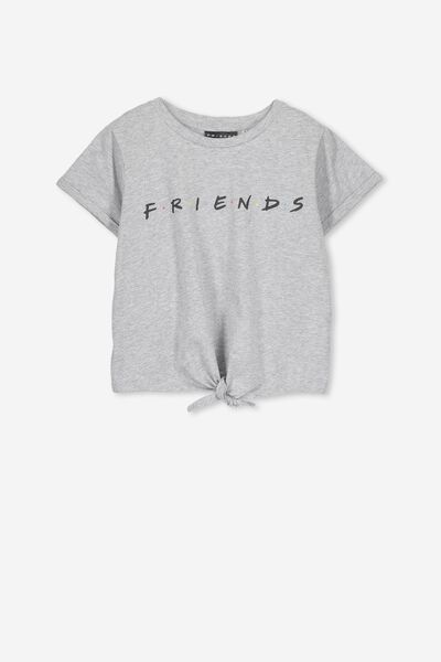 Lucy Licence Tee, TIE FRONT GREY MARLE/LCN FRIENDS