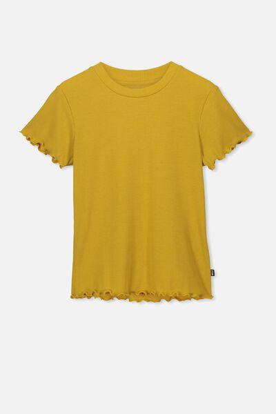 Jayde Ribbed Short Sleeve Top, GOLD RUSH