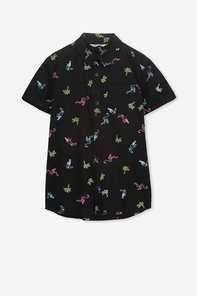 Joshua S/S Shirt, BLACK/TOUCANS