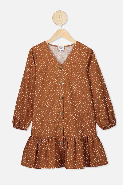 Leila Long Sleeve Dress, CARAMEL TOFFEE/SPOT