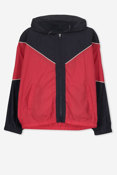 Unisex Windbreaker Jacket, NAVY/RED